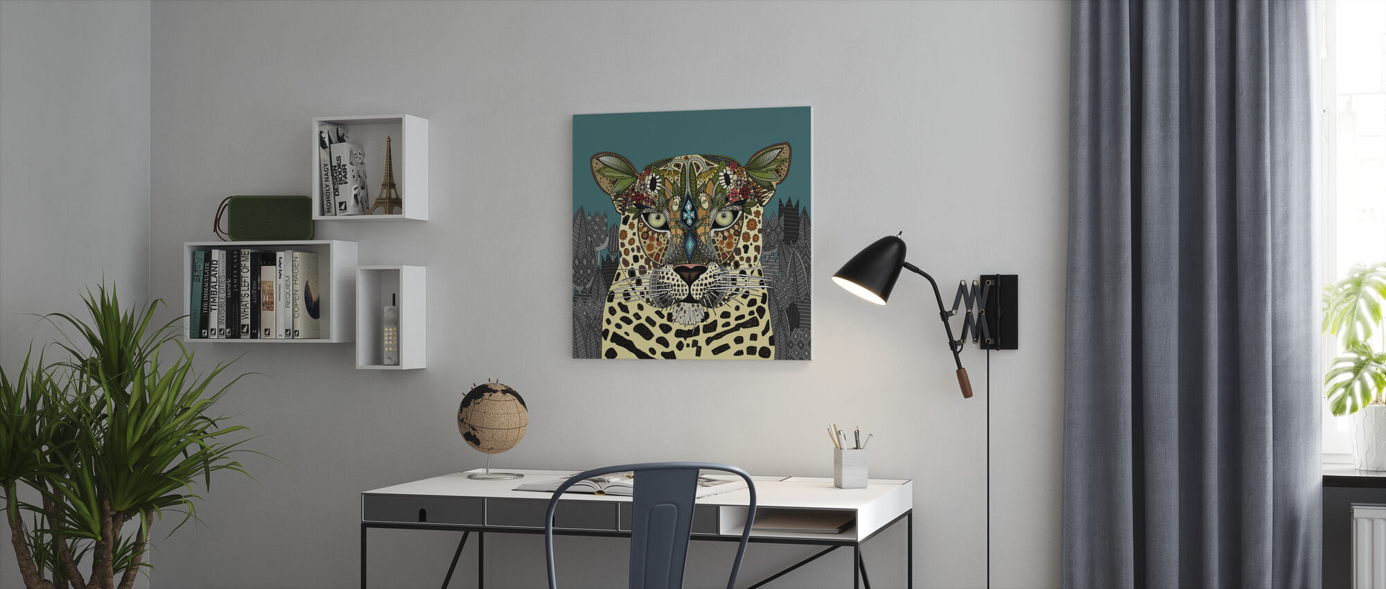 Leopard Queen Teal - Canvas print - Office