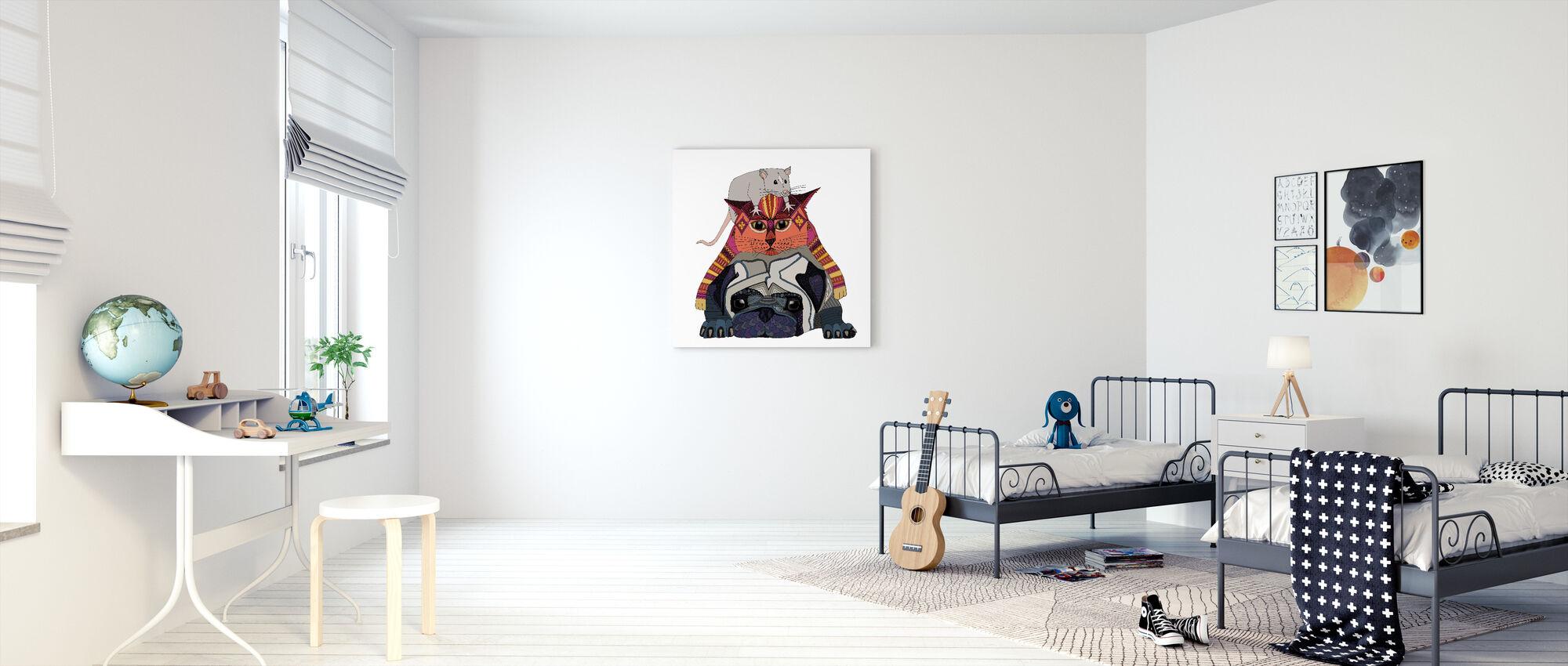 Mus och katt och mops - Canvastavla - Barnrum