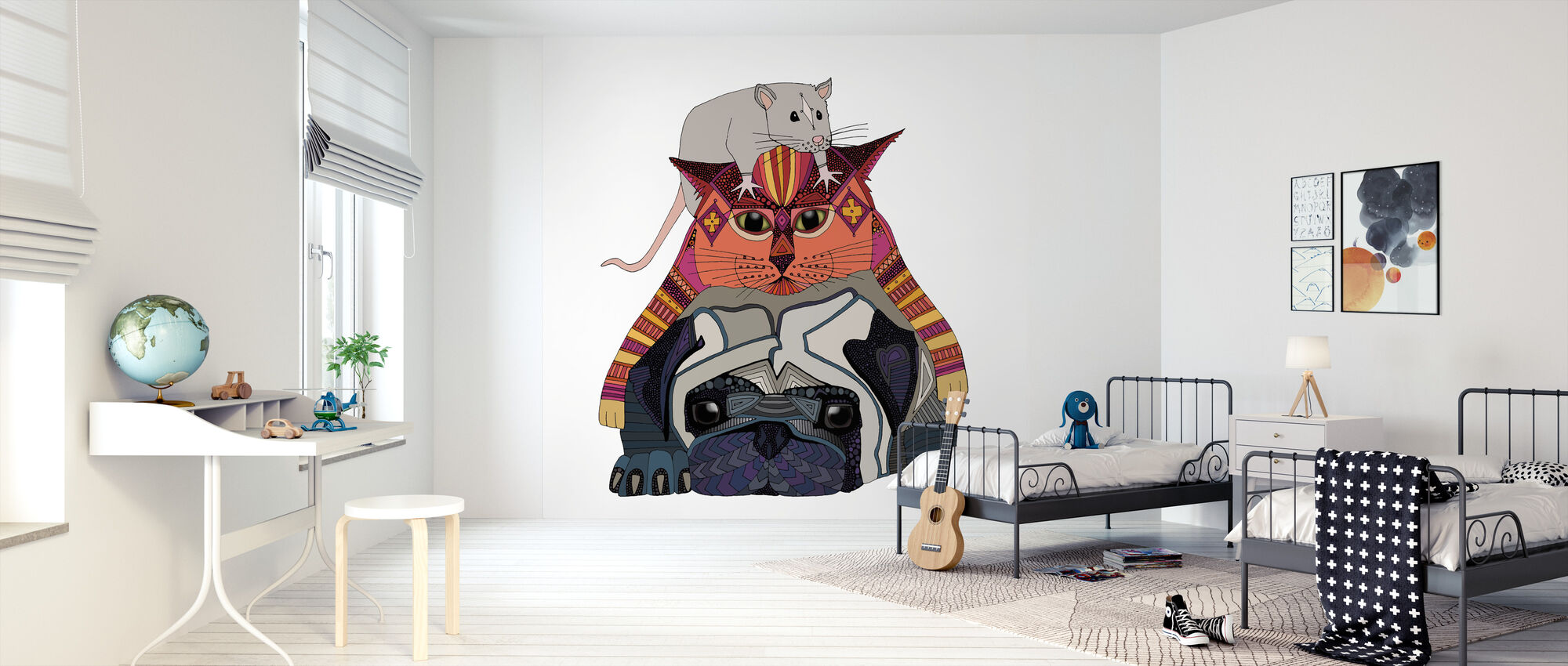 Muis en kat en mopje - Behang - Kinderkamer