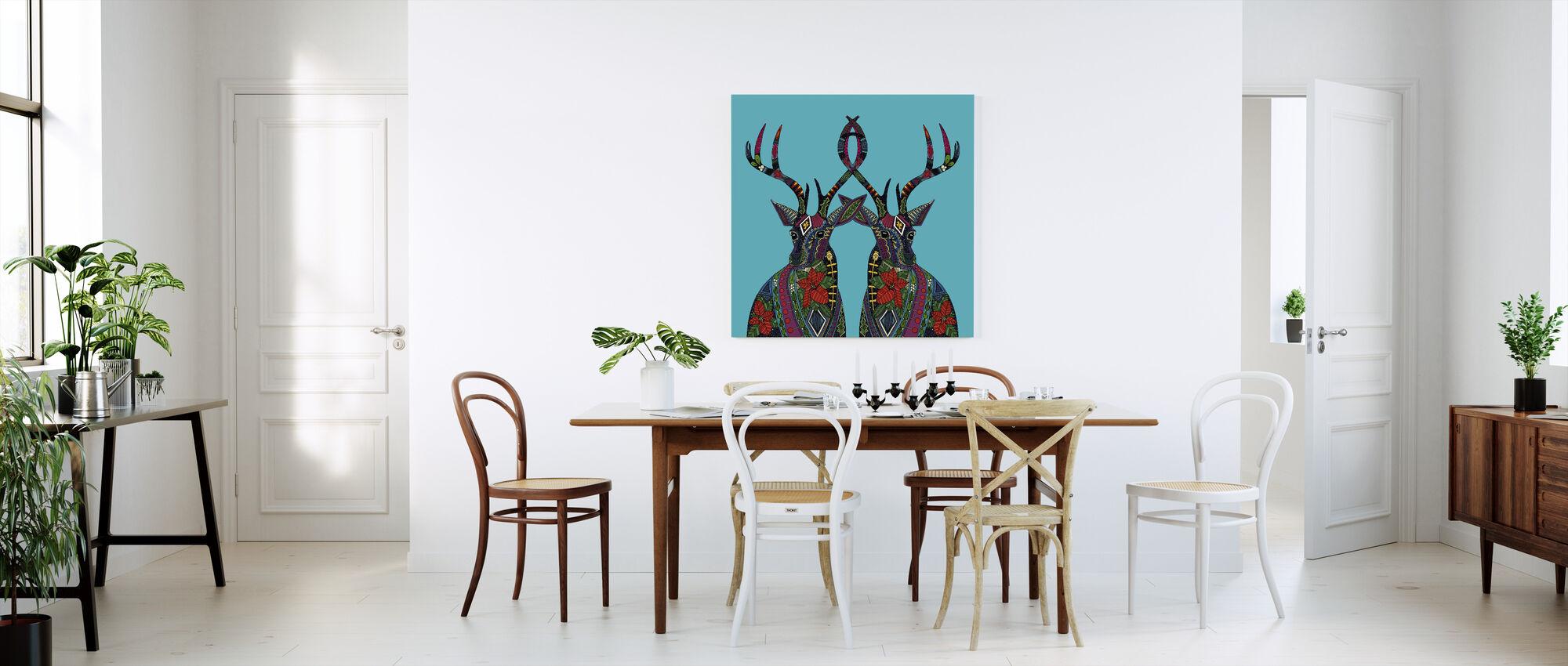 Poinsettia Deer - Canvas print - Kitchen