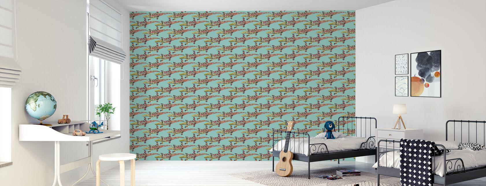 Crocodile Blue - Wallpaper - Kids Room