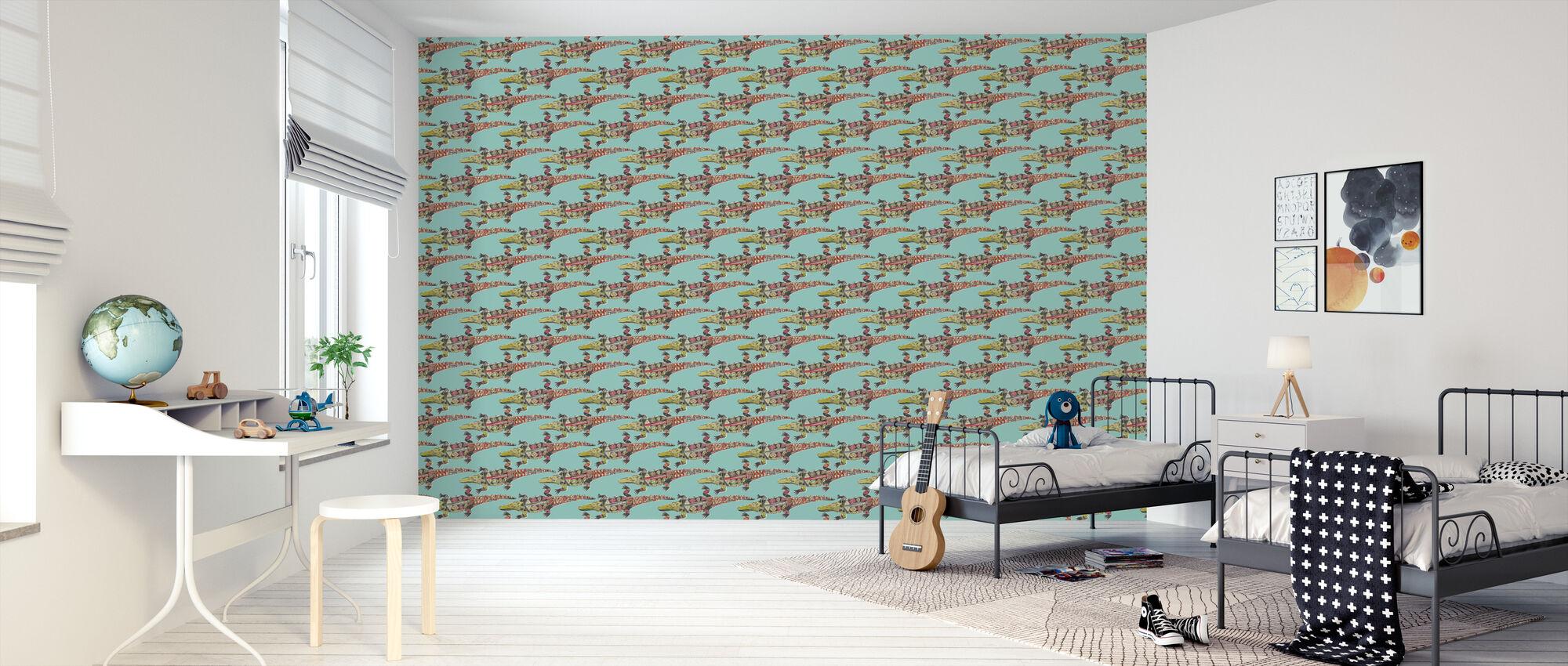 Niebieski krokodyl - Tapeta - Pokój dziecięcy