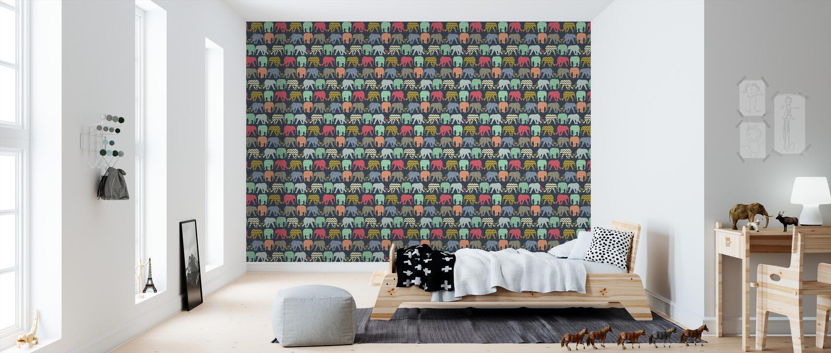 Baby elephants and flamingos 1 papel pintado for Papel pintado personalizado