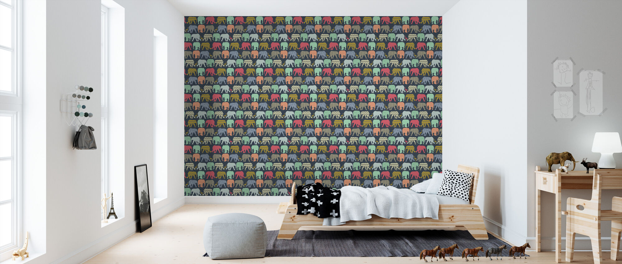 Baby Elephants and Flamingos 1 - Wallpaper - Kids Room