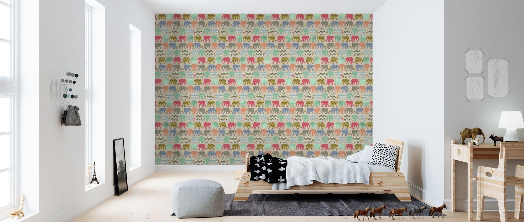 Baby Elephants and Flamingos 2 - Wallpaper - Kids Room