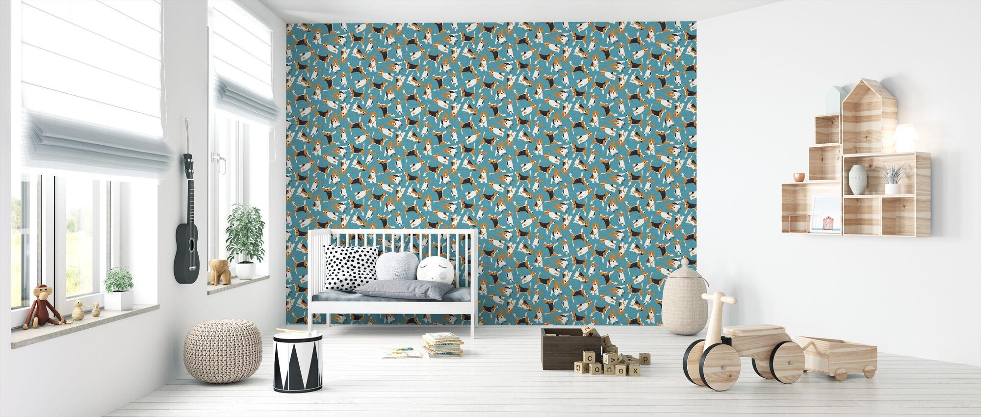 Beagle Scatter Blue - Wallpaper - Nursery