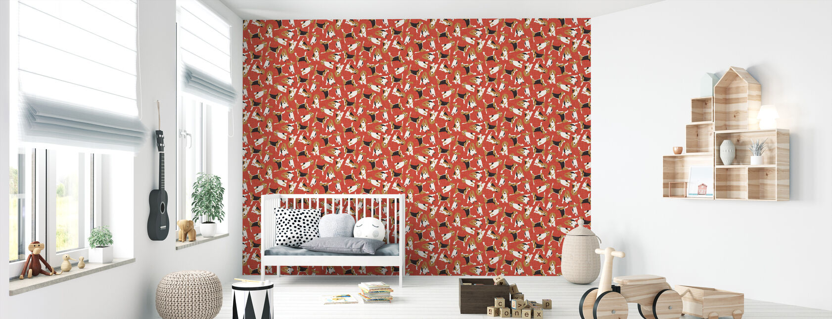 Beagle Scatter Red - Wallpaper - Nursery