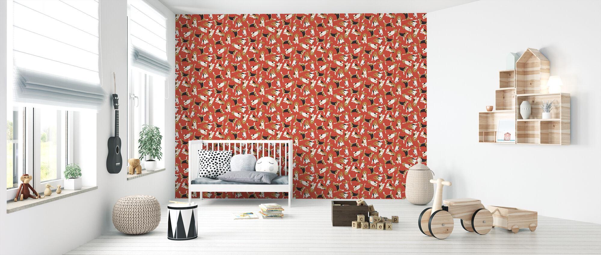 Beagle Scatter Red - Wallpaper - Nursery