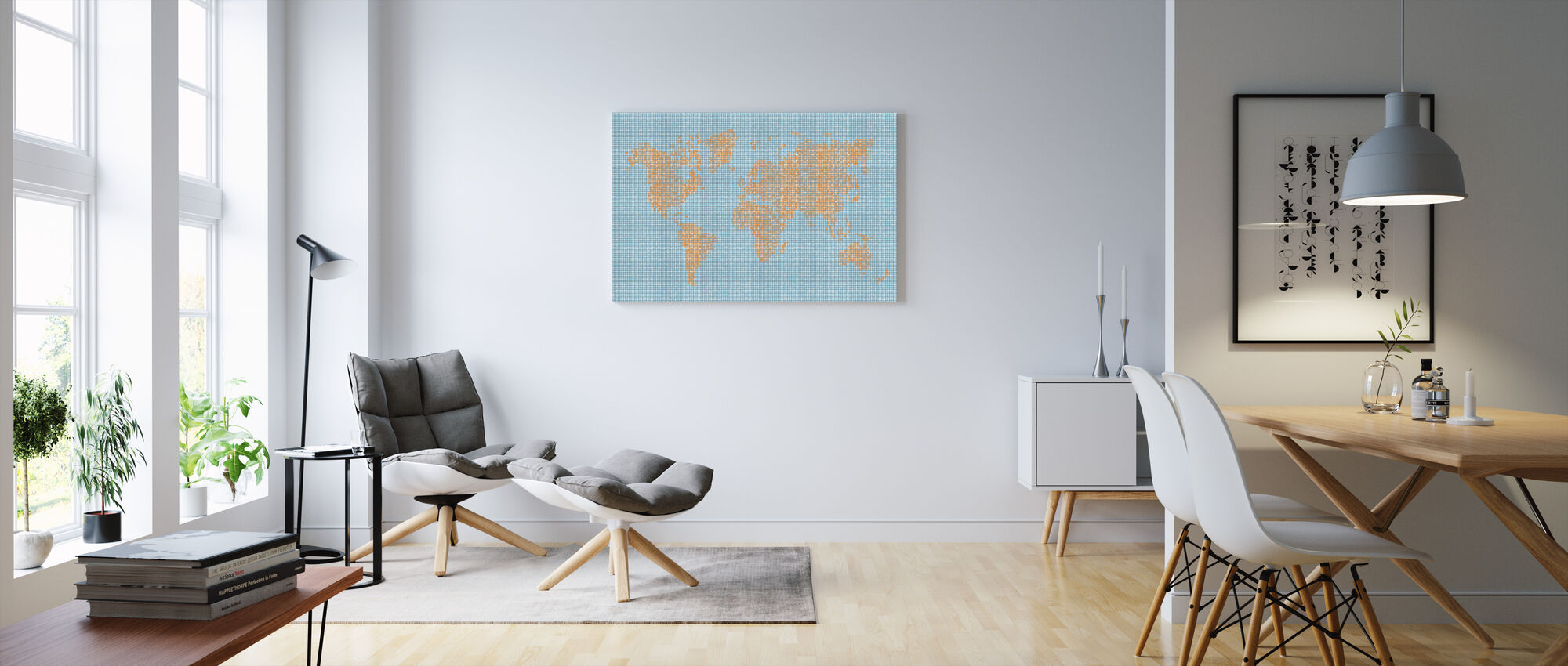 World Map Dot Texture - Canvas print - Living Room