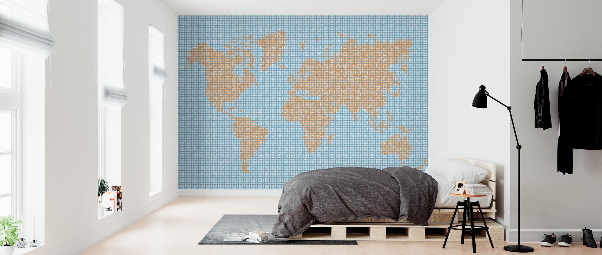 Wereldkaart puntstructuur - Behang - Slaapkamer