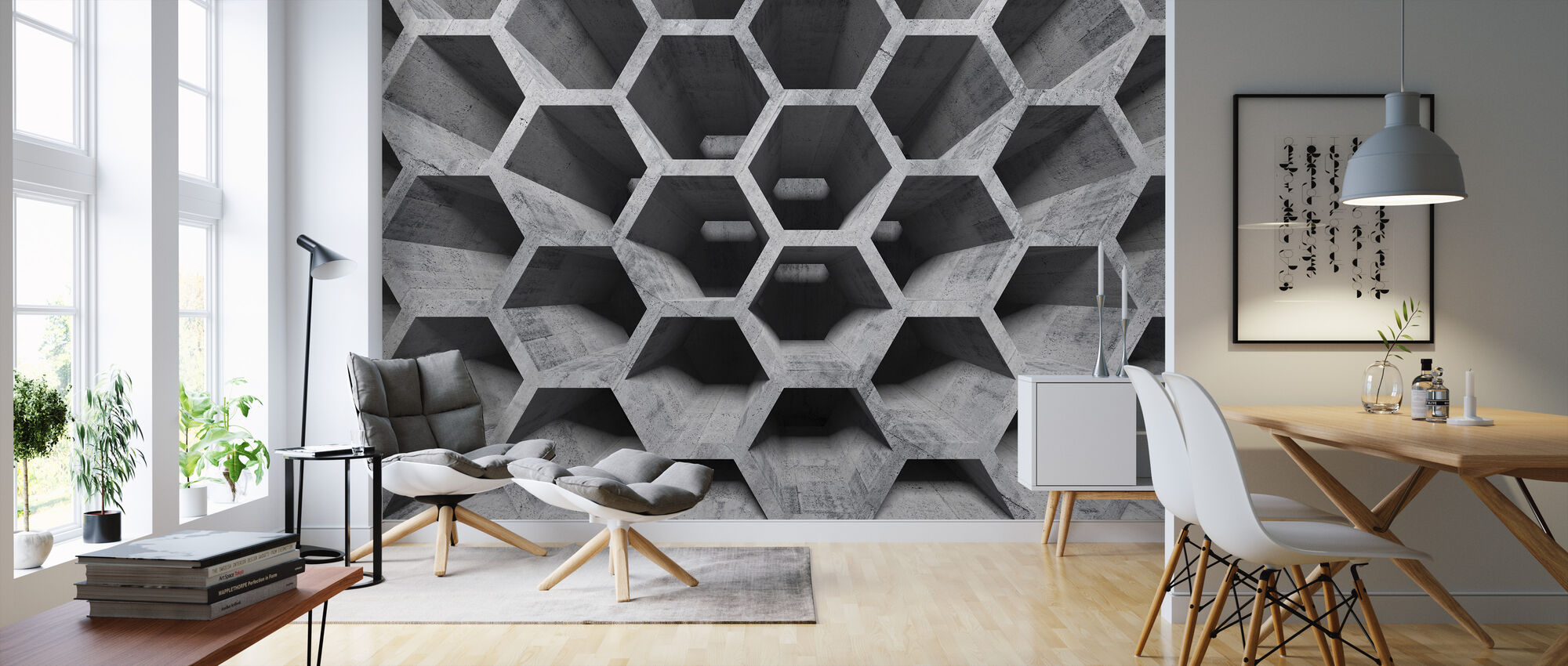 3D Honeycomb Structure - Wallpaper - Living Room