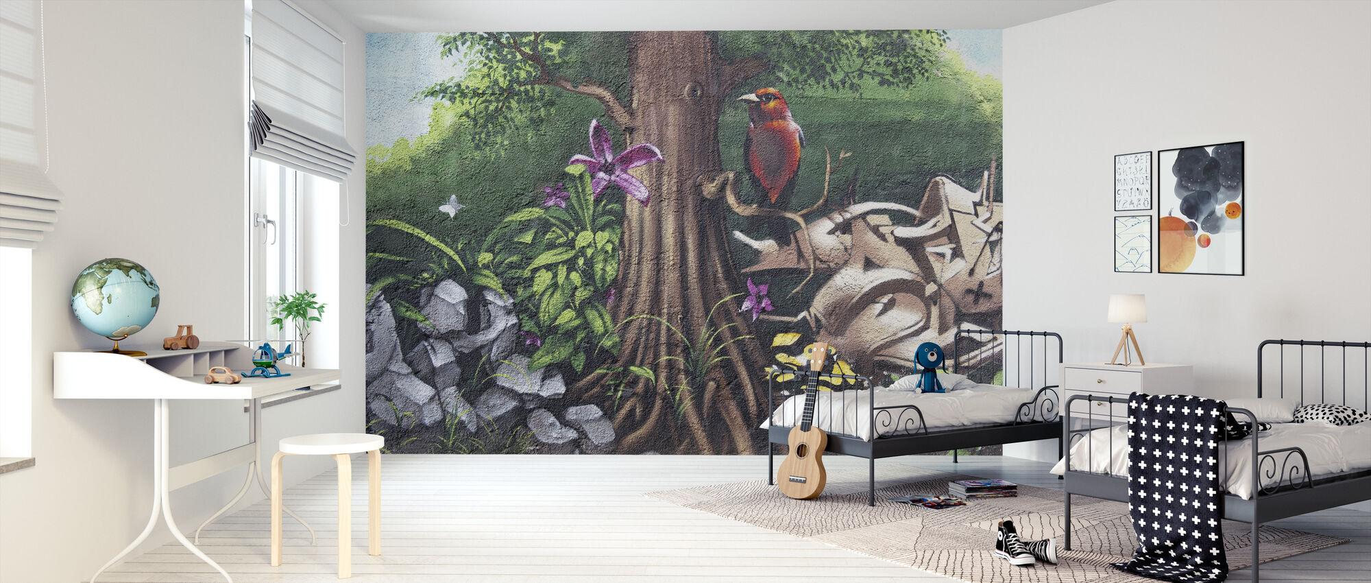 Fugl af Paradis Graffiti - Tapet - Børneværelse