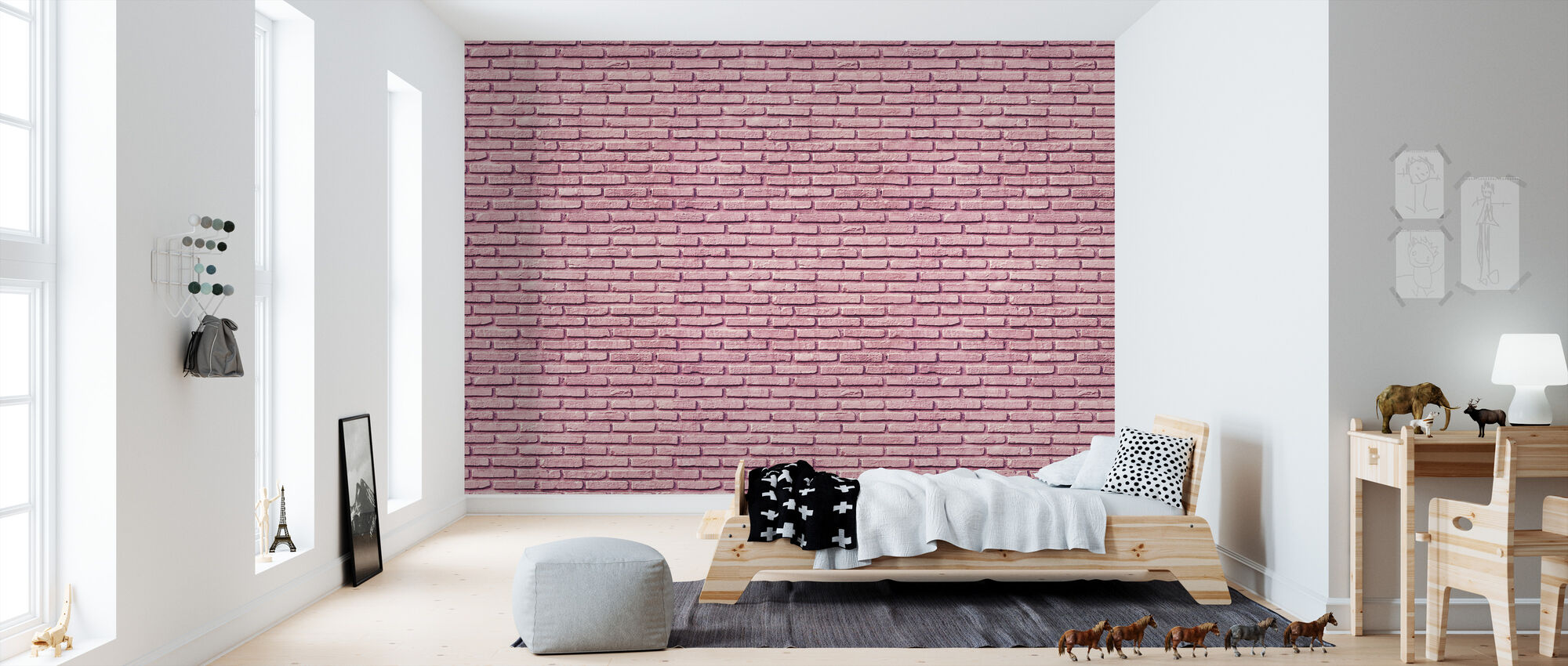 Bubble Gum Brick Wall - Wallpaper - Kids Room