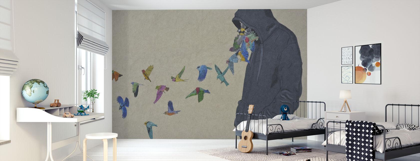 Farverige fugle graffiti - Tapet - Børneværelse