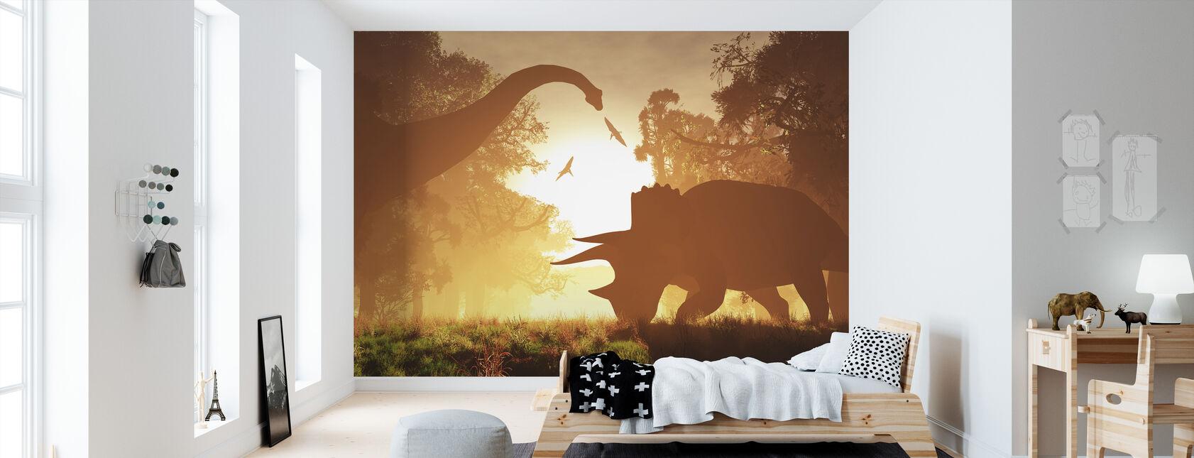 Dinosaurus ochtend - Behang - Kinderkamer