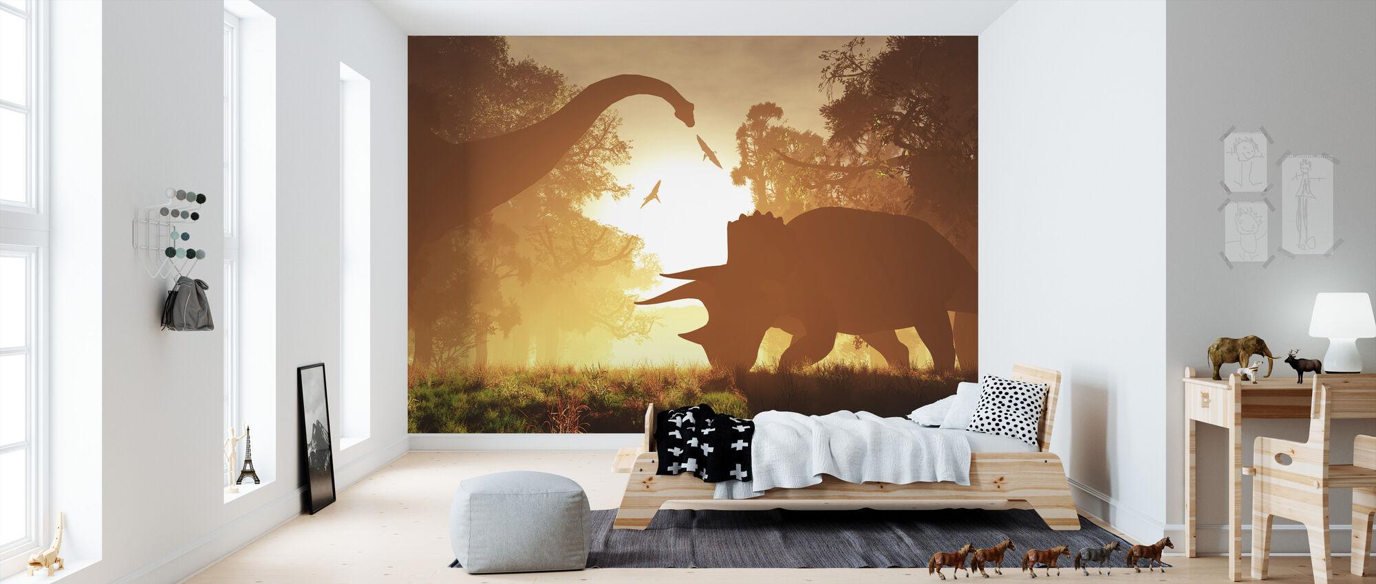 Dinosaur Morning - Wallpaper - Kids Room