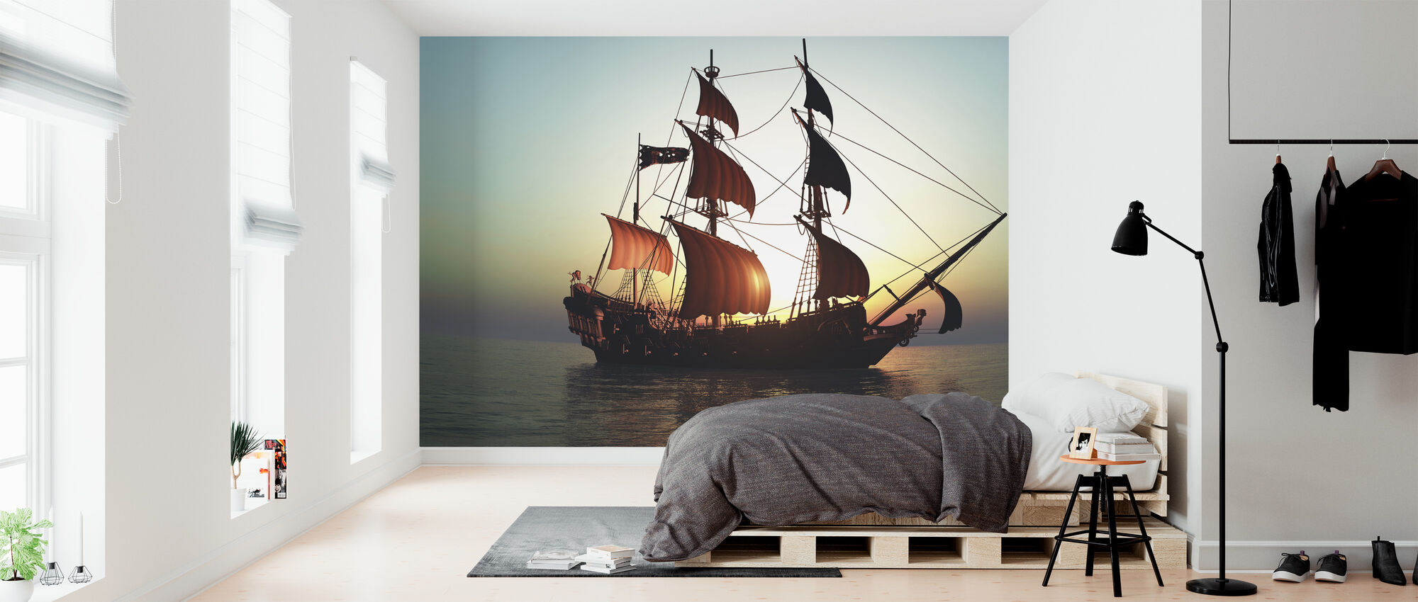 Pacific Sailing Ship - Wallpaper - Bedroom
