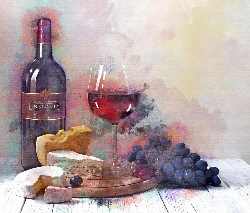 rödvin på tapet
