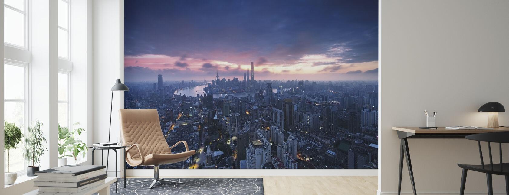 Shanghai City soloppgang - Tapet - Stue