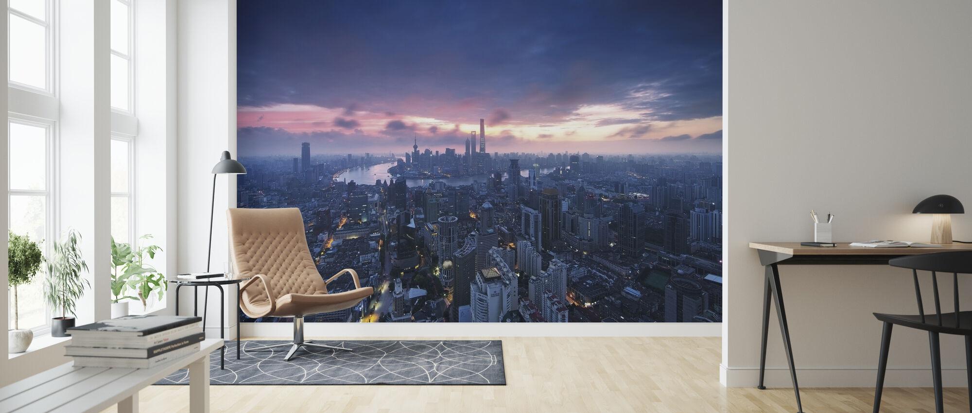 Shanghai City Sunrise - Wallpaper - Living Room