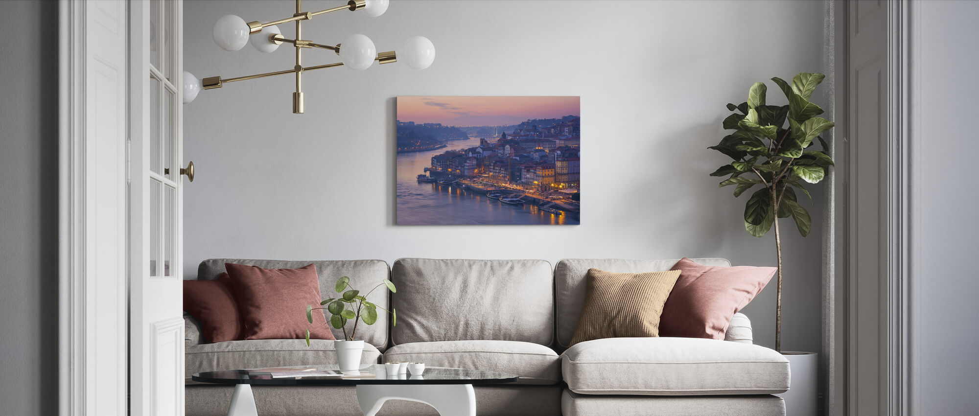 Zonsondergang in Porto City - Canvas print - Woonkamer