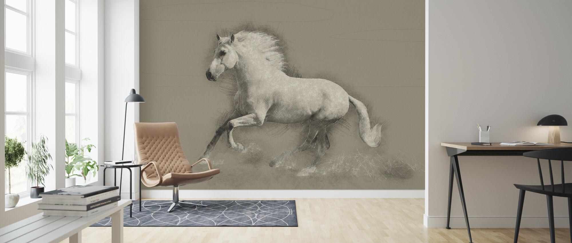Hevonen piirustus - Tapetti - Olohuone