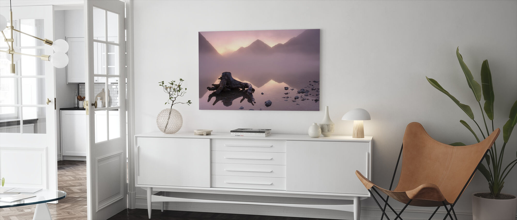 Misty Morning at the Lake - Canvas print - Living Room