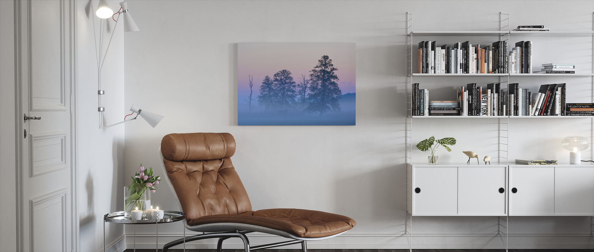 Black Alder in Morning Mist - Canvas print - Living Room