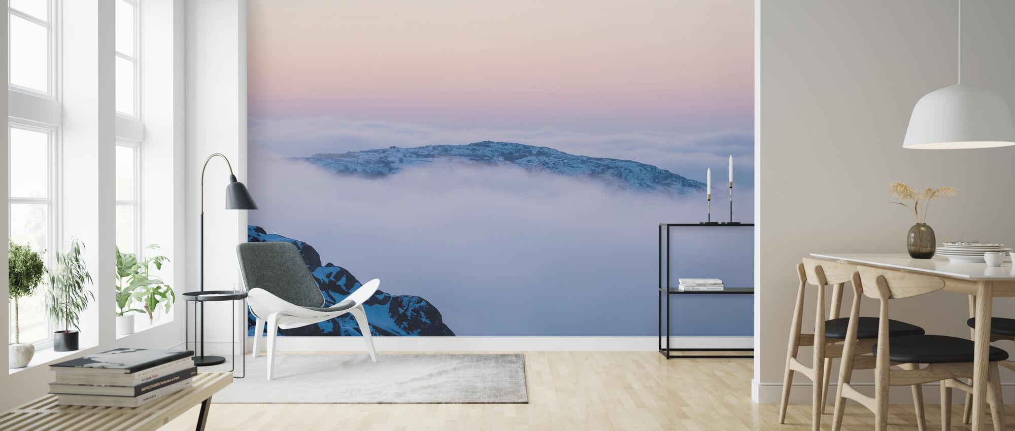 Wolken boven de bergen - Behang - Woonkamer