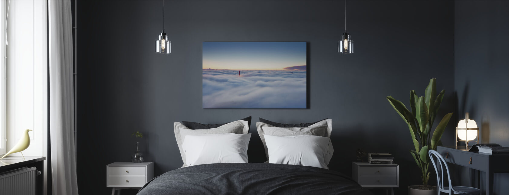 Fog over San Francisco - Canvas print - Bedroom
