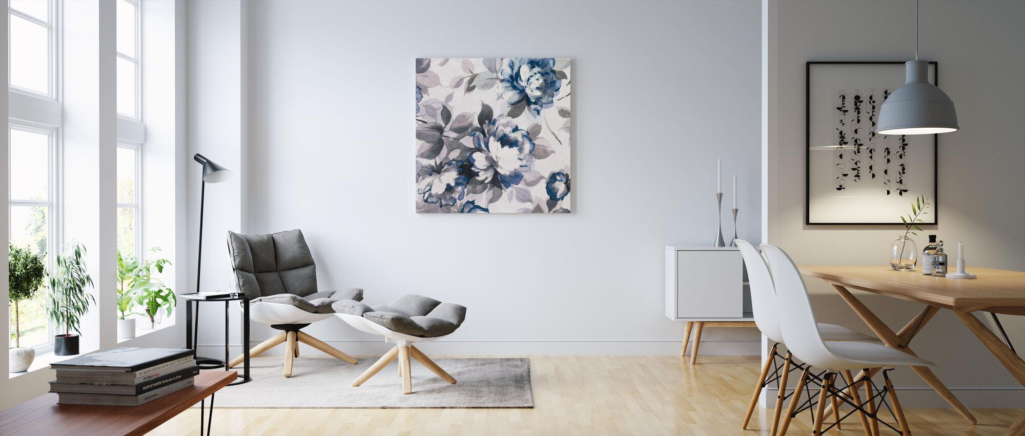 Scent of Roses Indigo II - Canvas print - Living Room