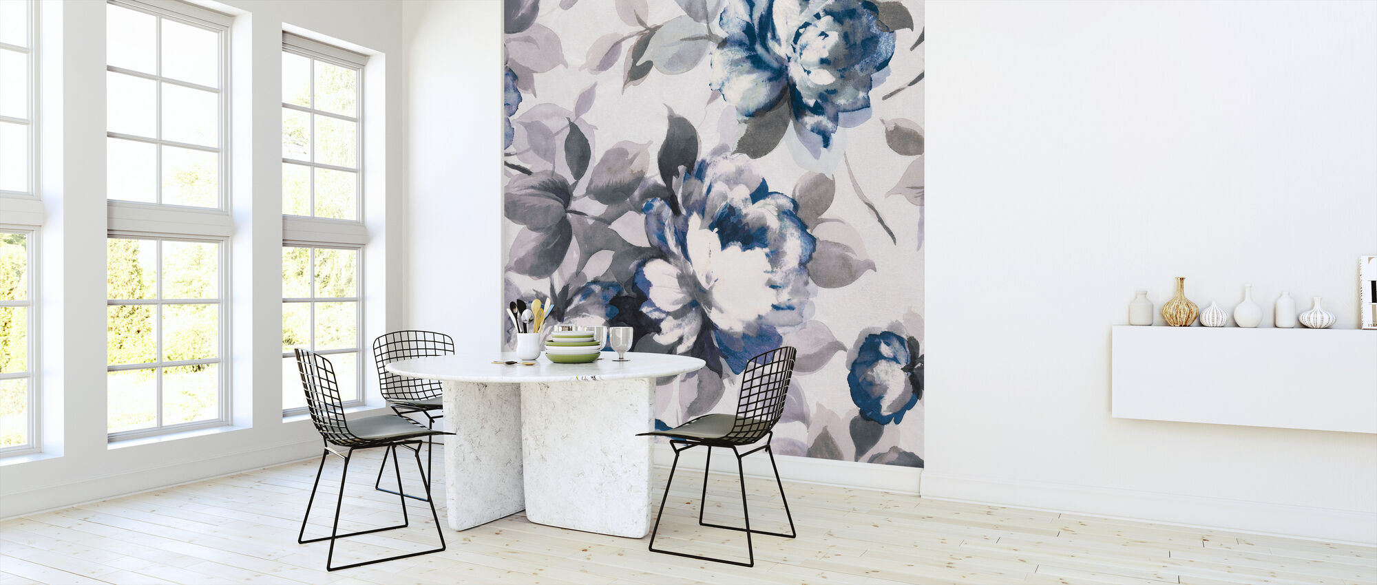 Scent of Roses Indigo II - Wallpaper - Kitchen