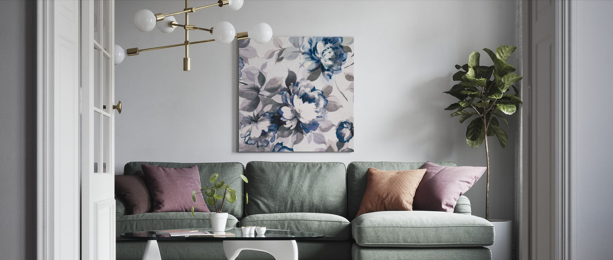 Scent of Roses Indigo II - Canvas print - Living Room