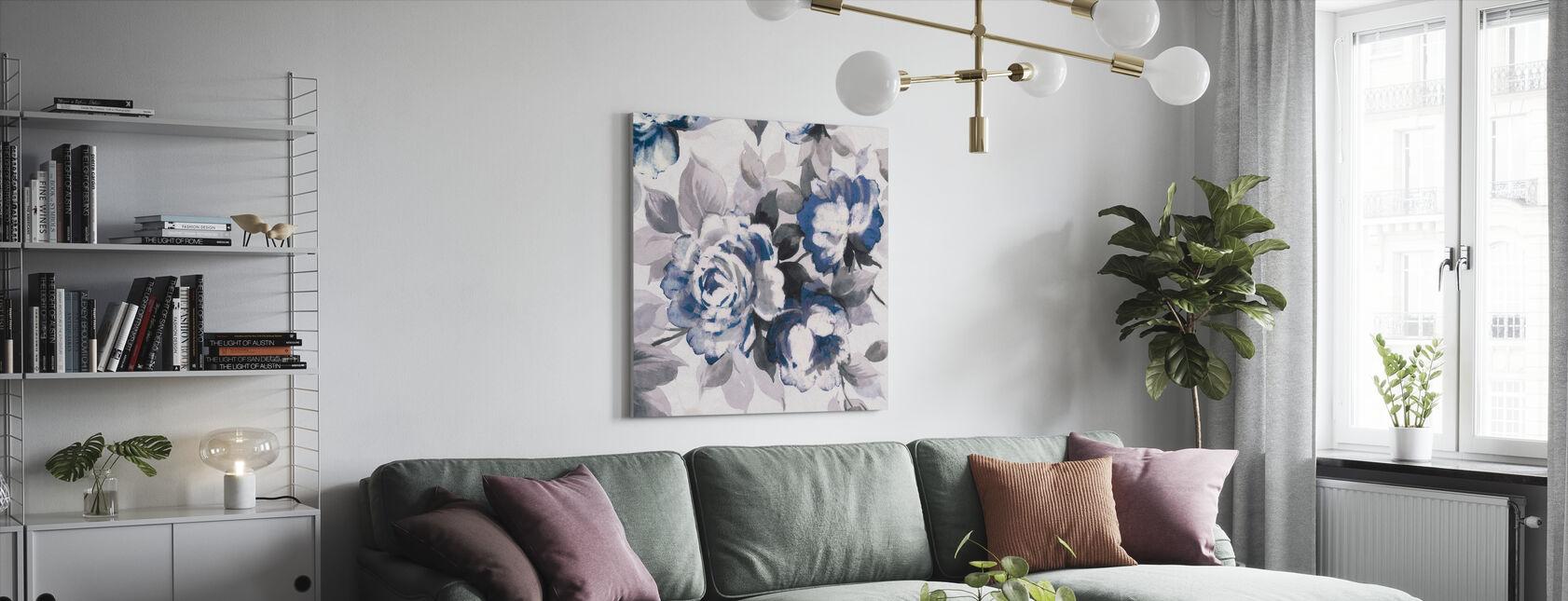 Scent of Roses Indigo III - Canvas print - Living Room