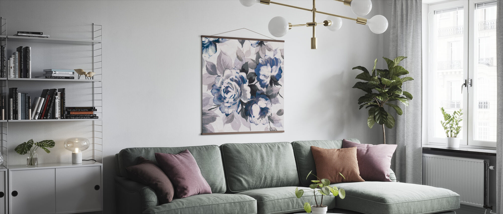 Scent of Roses Indigo III - Poster - Living Room