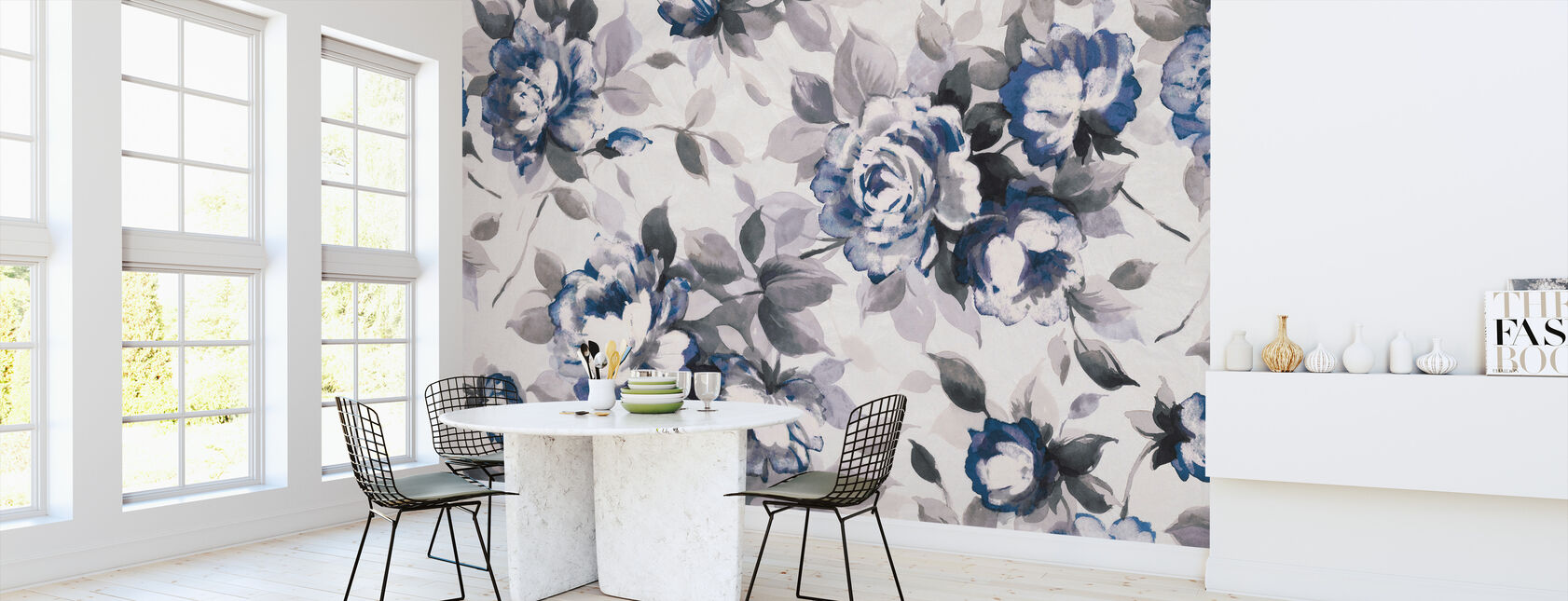 Scent of Roses Indigo - Wallpaper - Kitchen