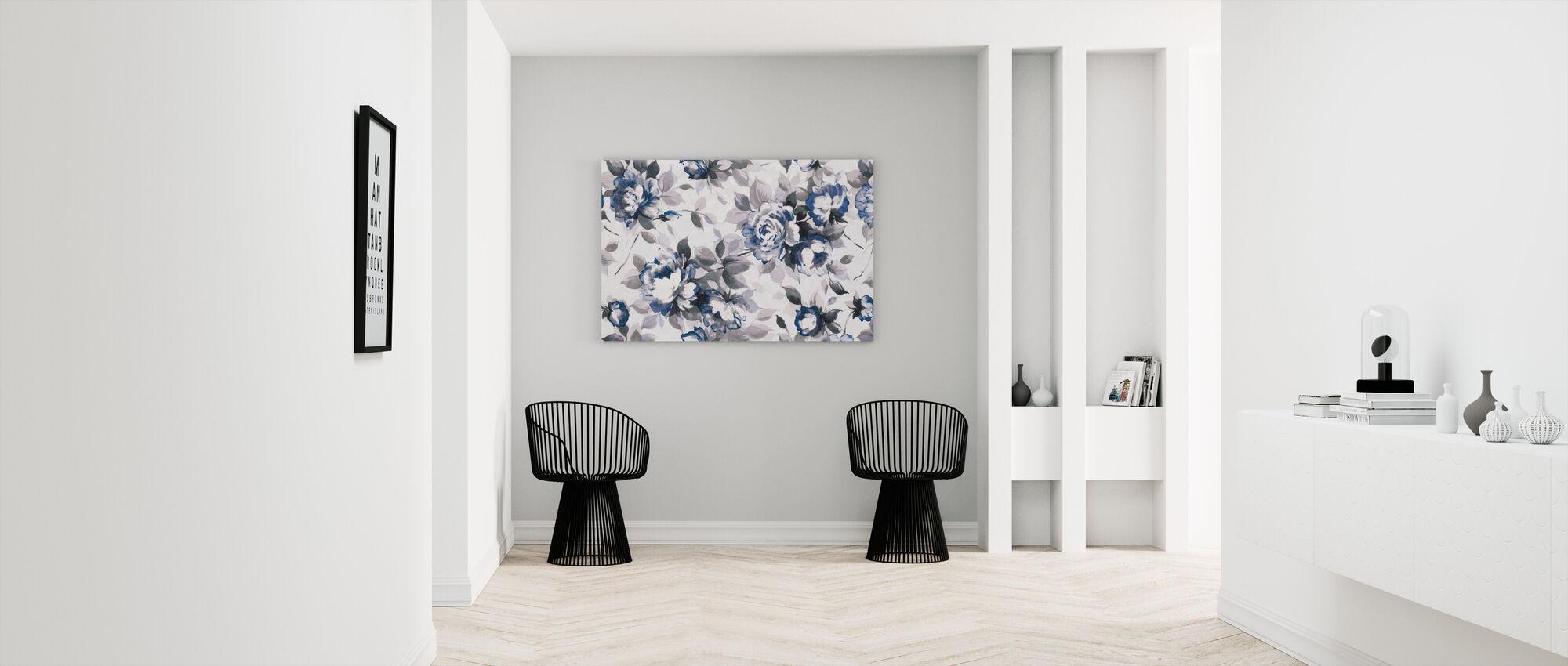 Scent of Roses Indigo - Canvas print - Hallway