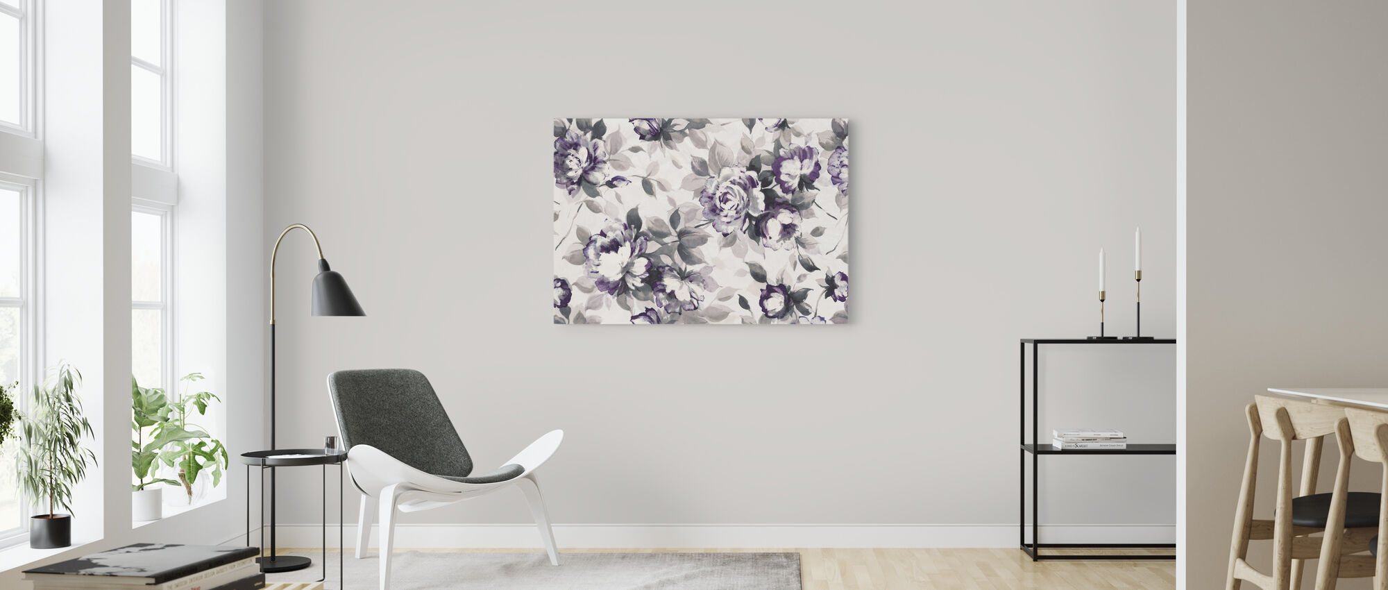 Scent of Roses Plum - Canvas print - Living Room