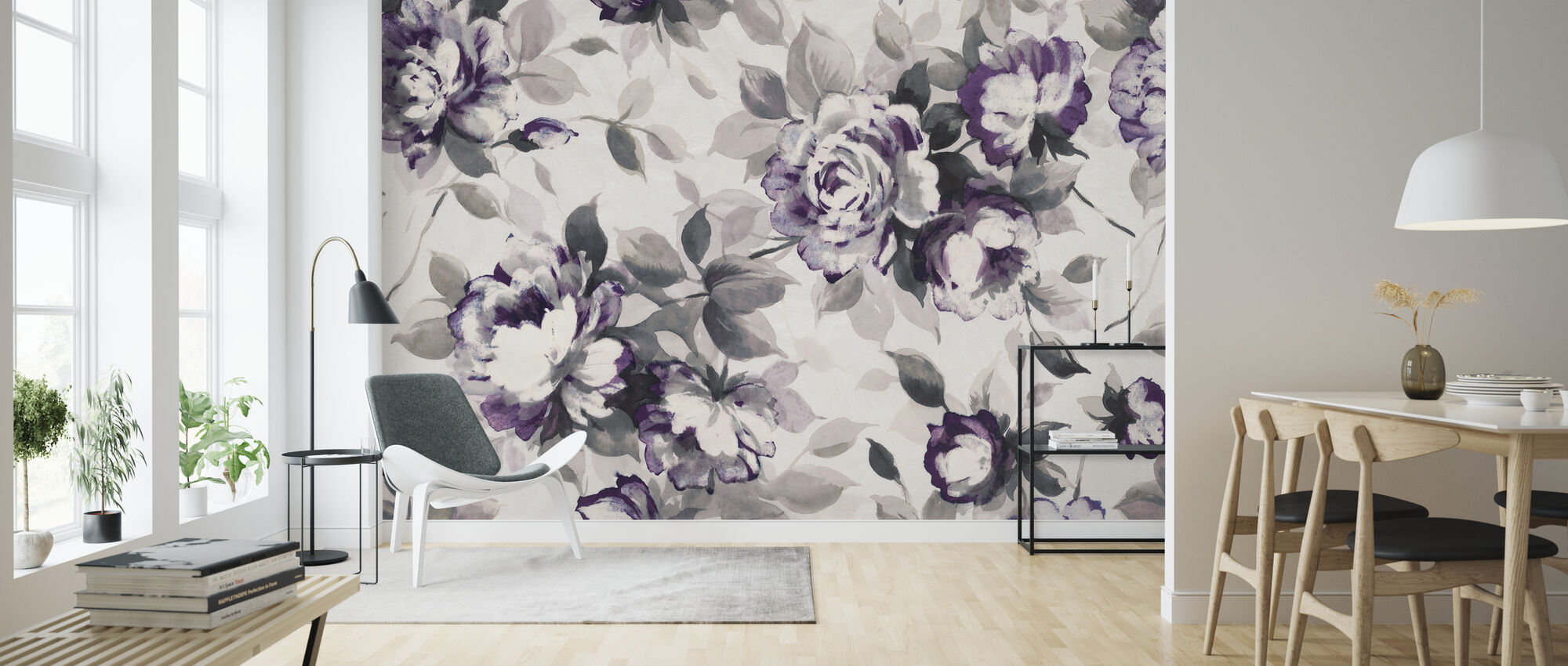 Scent of Roses Plum - Wallpaper - Living Room