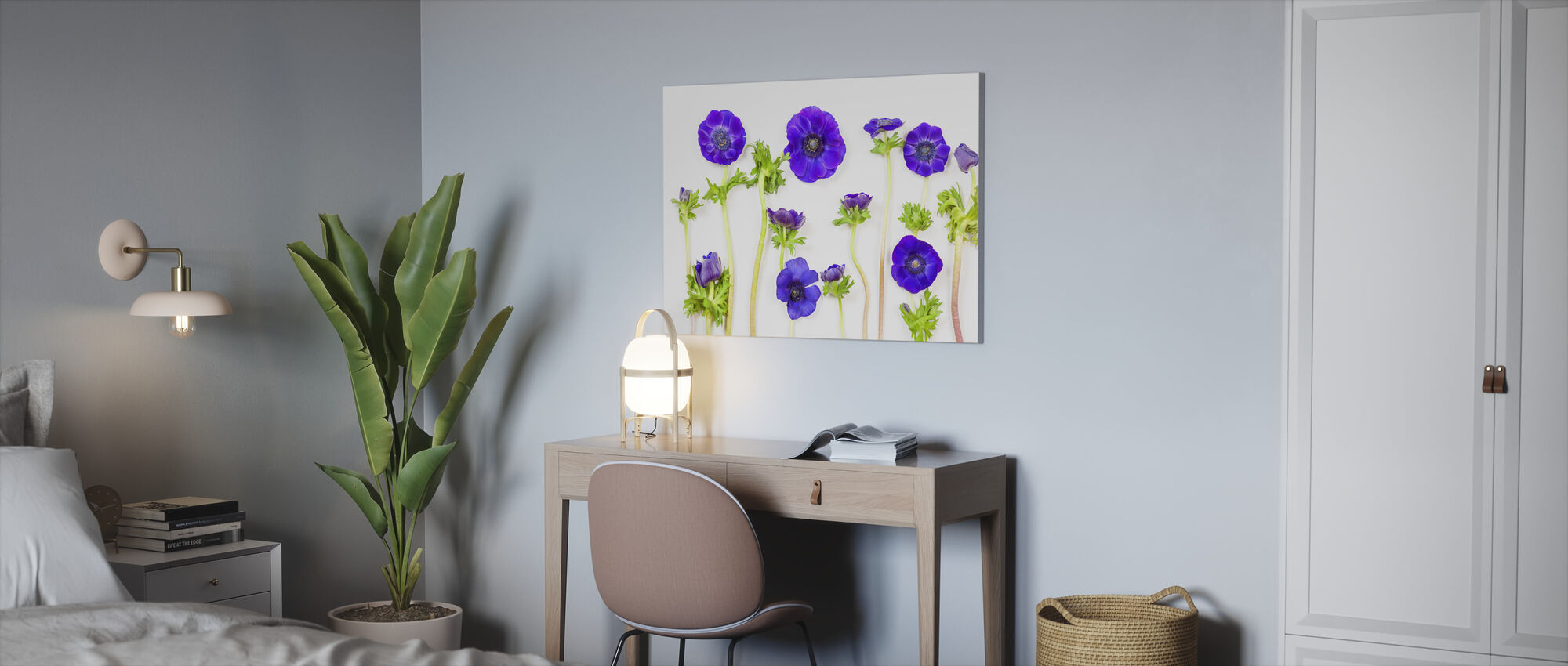 Beatiful Blue Anemons - Canvas print - Office