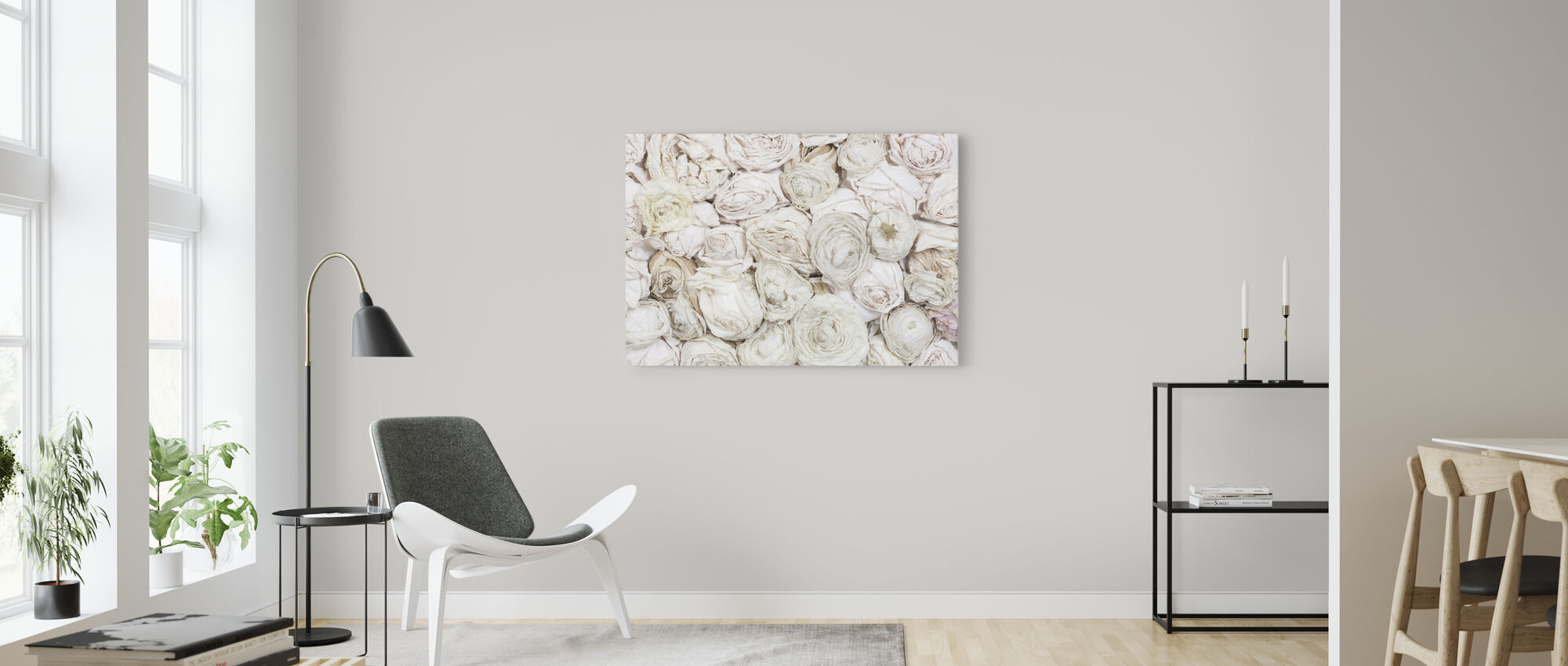 Old White Roses - Canvas print - Living Room