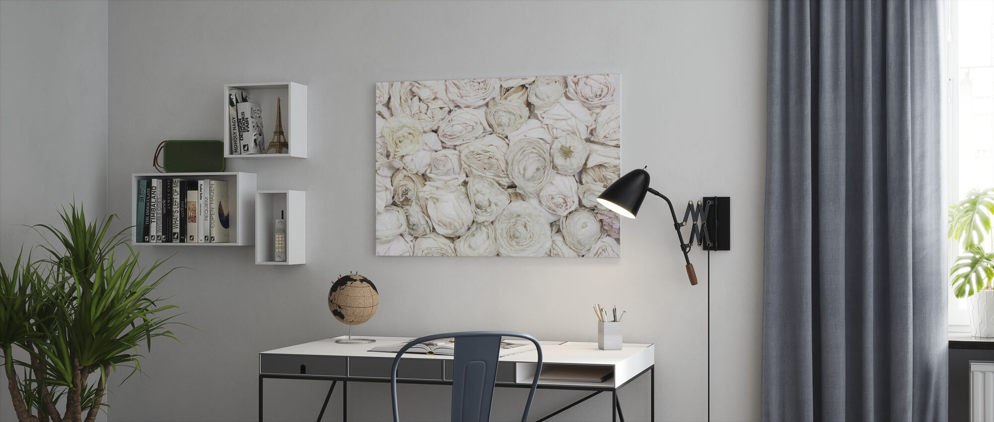 Old White Roses - Canvas print - Office