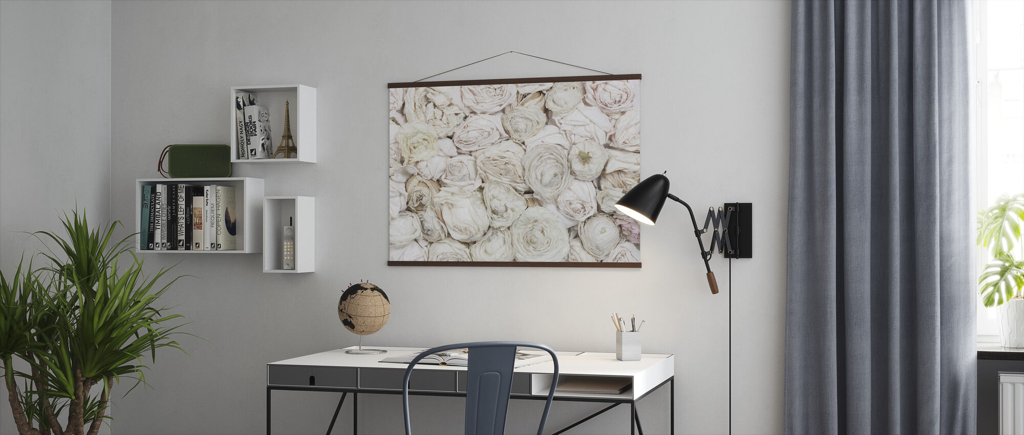 Old White Roses - Poster - Office