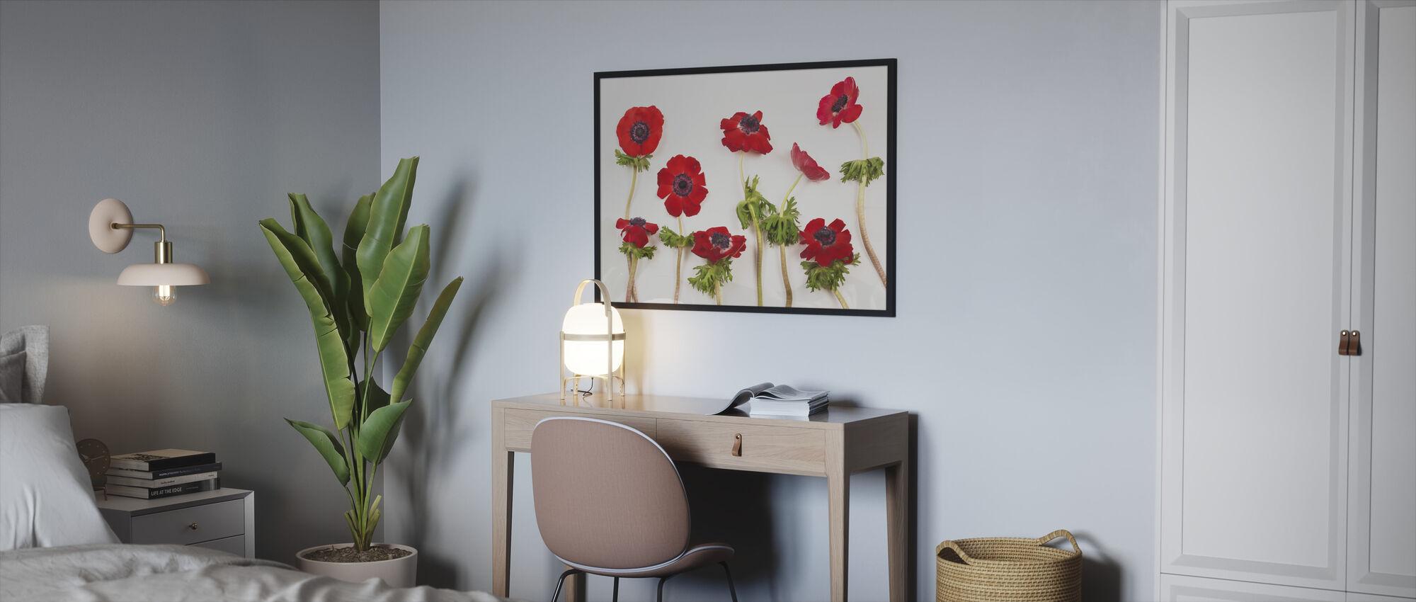 Punainen Anemons - Kehystetty kuva - Makuuhuone