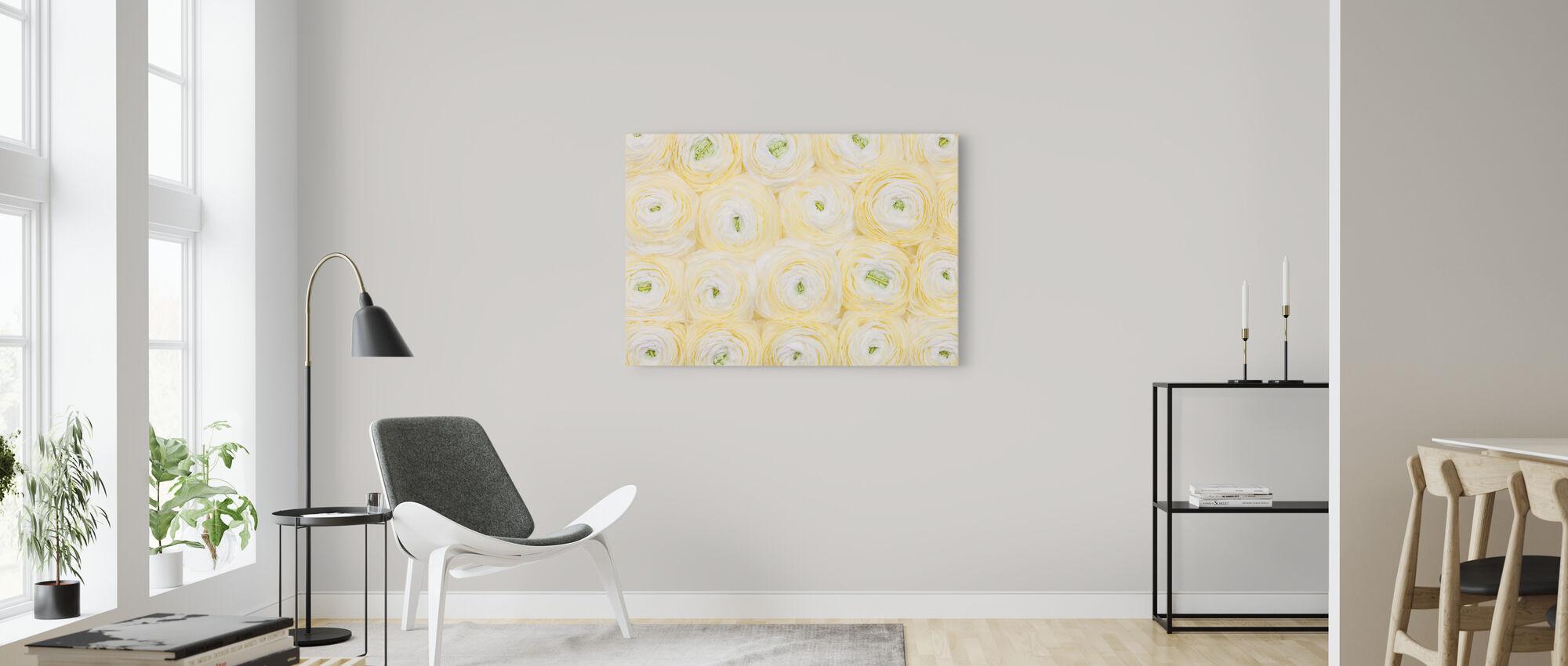 Soft Yellow Ranunculus - Canvas print - Living Room