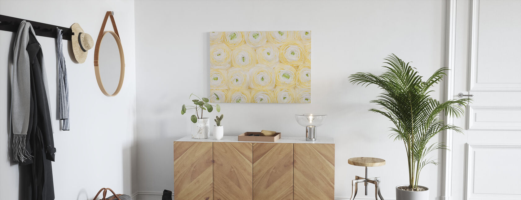 Soft Yellow Ranunculus - Canvas print - Hallway