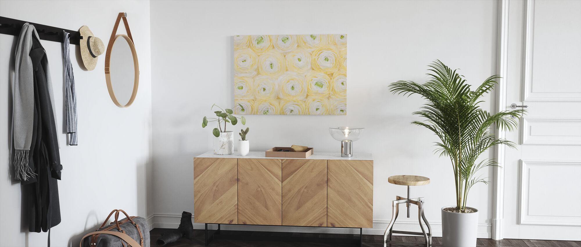 Soft Yellow Ranunculus - Canvas print - Hallway