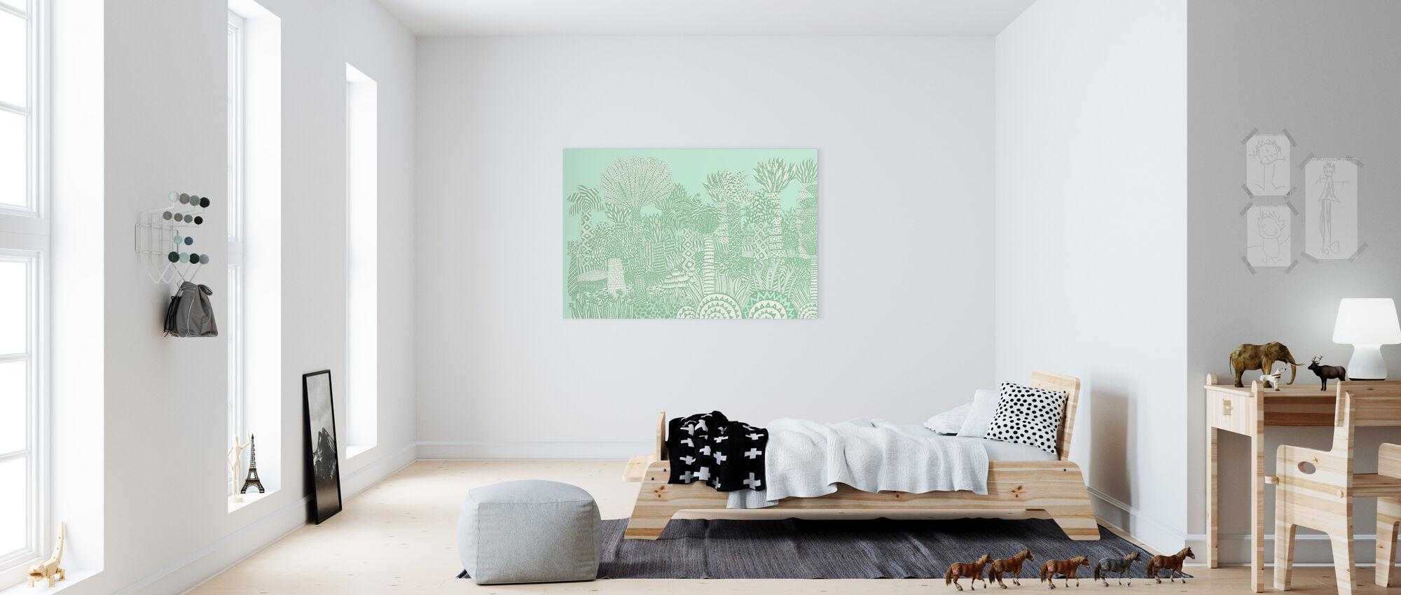 Jungle Grøn - Billede på lærred - Børneværelse