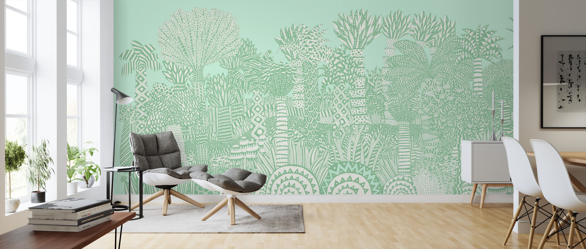 Jungle Green - Wallpaper - Living Room