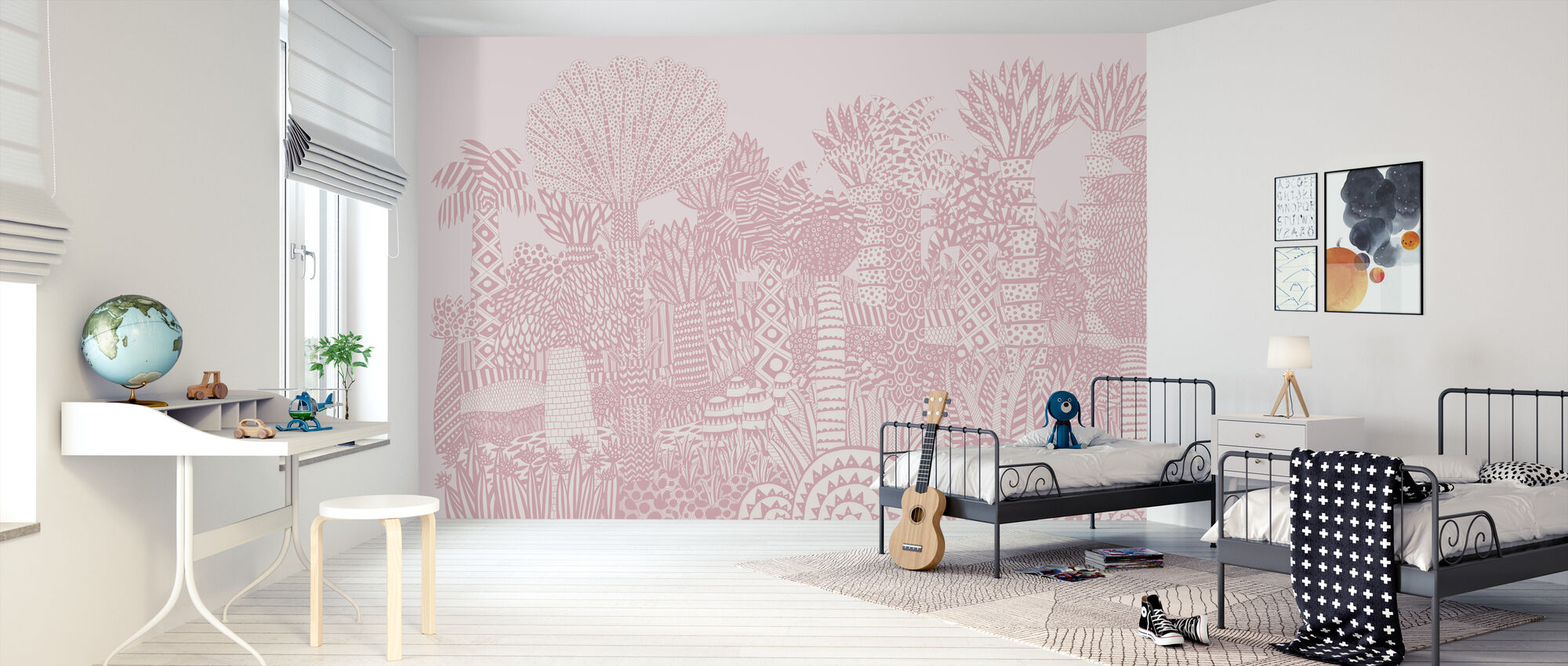 Jungle Roze - Behang - Kinderkamer